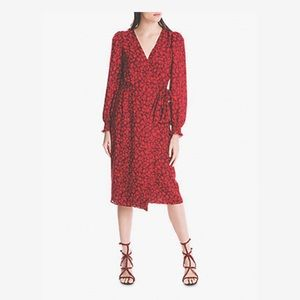Max studio red and maroon floral, long sleeve midi